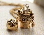 Gold Floral Perfume Bottle Necklace, Long Gold Pendant, Vintage Jewelry, Raised Metal Flowers, Unique Flask Necklace