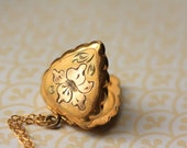 Vintage Gold Locket Shield Necklace - 12kt Rose and Yellow Gold