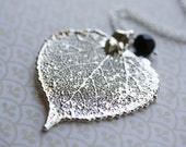 Silver Dipped Aspen Leaf Necklace, Long Pendant, Genuine Leaf, Wire Wrapped Black Glass, Sterling Silver