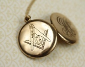 Long Antique Free Masons Gold Filled Monogram Locket, Engraved Letters J C S and G Pendant, Vintage Monogrammed Necklace, Victorian Jewelry