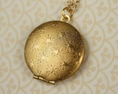 Textured Gold Stars Locket Necklace, Round Star Pendant, Long Gold Chain Star Necklace, Raised Starry Pattern, Photo Locket, Astronomy