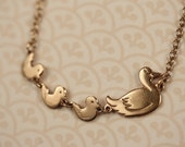 Family Duck Necklace, Vintage Ducks Pendant, Gold Duck Jewelry, Tiny Bird Necklace