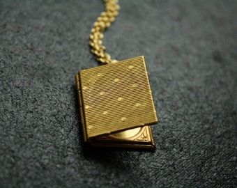 Polka Dots Book Pendant Necklace, Long Gold Locket, Photo Necklace, Vintage Book, Long Chain Necklace, Women's Jewelery
