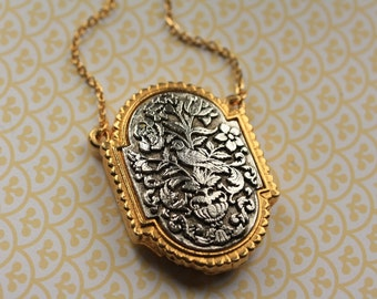 Statement Necklace Locket with Vintage Silver and Gold Bird, Large Perfume Necklace, Long Chain Pendant, Art Nouveau Perfume Pendant