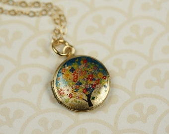 Small Flower Tree Locket Pendant, Initial Locket, Photo Necklace, Picture Jewelry, Colorful Floral Locket Kids,14kt Gold Filled Small Locket