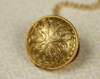 Art Nouveau Locket Necklace, Long Round Gold Locket, Perfume Pendant, Long Gold Chain, Floral Locket, Art Nouveau Necklace