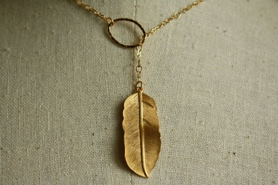 Single Feather Lariat Necklace