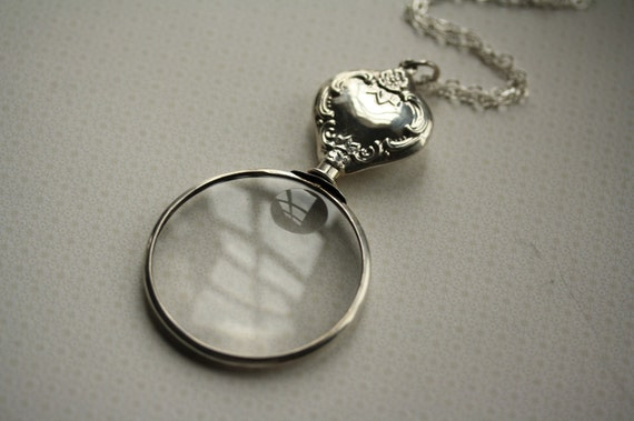 The Large Vintage Sterling Silver Magnifying Glass Necklace