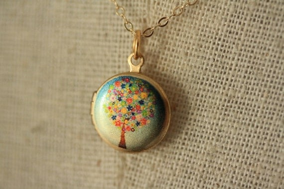 RESERVED with Priority - Small Flower Tree Locket Necklace, Blue Colorful Floral Pendant, Miniature, 14kt GF Chain, Turquoise Jewellery