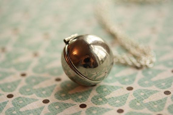 Ball Locket Long Silver Necklace, Modern Locket, Simple Locket Silver Everyday Necklace, Orb Necklace, Sphere Locket, Ball Pendant Silver