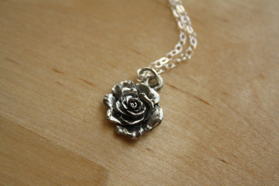 RESERVED - 18 Inch Silver Rose Necklace, Small Flower Pendant, Sterling Silver Chain, Simple Floral Charm Jewelry