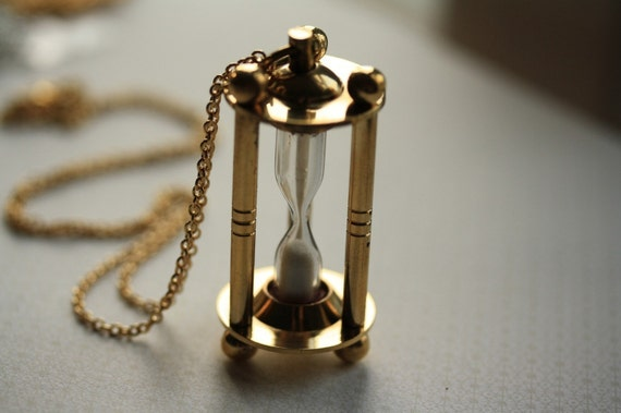 Hourglass Necklace, Pendant with Long Chain, Timepiece Pendant, Gold Metal, Unique Necklace, Vintage Style, Time Jewelry