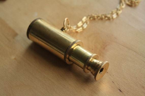 Gold Brass Telescope Necklace, Nautical Pendant, Long Chain, Astronomy, Star Magnifier, Large Jewelry