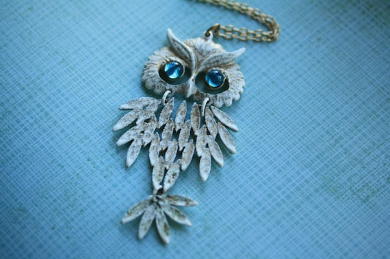 The Blue Jeweled Vintage Movable Owl Necklace