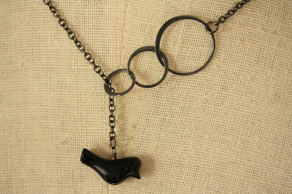 The Onyx Black Bird and Blackened Sterling Silver Rings Lariat Necklace