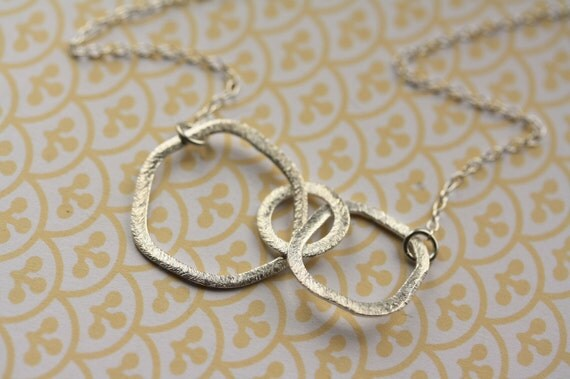 Sterling Silver Links Necklace, Three Rings Pendant, Organic Shape, Brushed Detail, Simple Jewelry