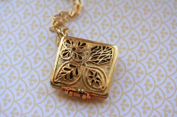 Gold Filigree Locket Necklace, Vintage Pendant, Long Chain, Perfume Jewellery, Small Flowers and Leaves