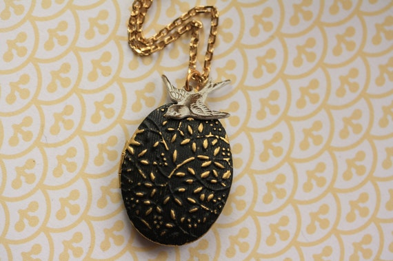 Black Vines Locket Pendant with Antiqued White Bird, Long Gold Necklace, Floral Jewelry, Black and White Pendant, Fashion Jewellery