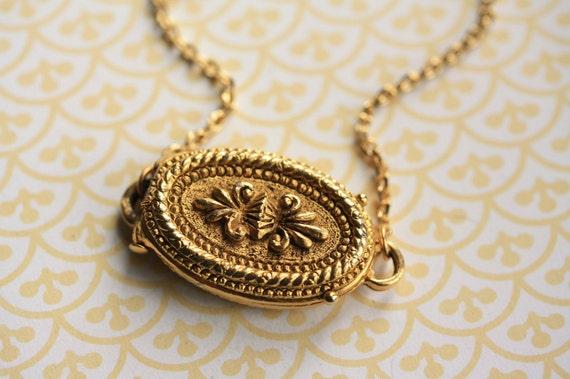 Fleur De Lis Locket, Gold Flower Necklace, Long Chain Necklace for Women, Small Unique Locket, Oval Locket Jewelry, Art Nouveau Locket