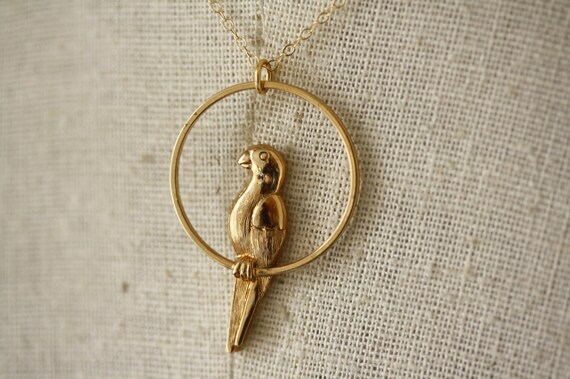 Vintage Parrot Pendant Necklace, Vintage Bird Jewelry, 14kt Gold Filled Chain, Unique Jewellery