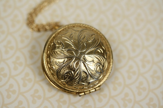 Vintage Art Nouveau Locket, Round Perfume Pendant, Long Chain, Unique Necklace