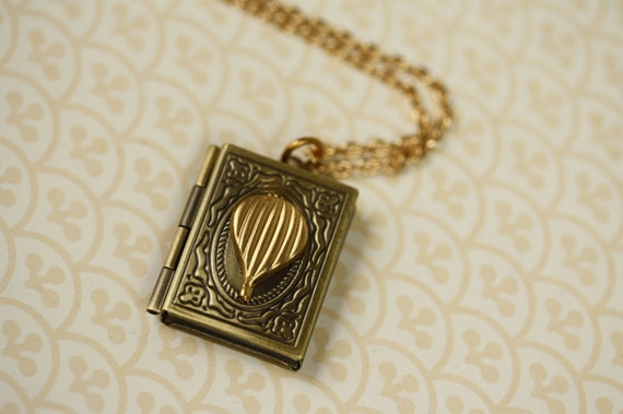 SALE - Hot Air Balloon Locket Necklace, Long Unique Book Pendant, Dark Vintage Style, Gold Jewellery, Whimsical Jewelry, Two Tone Metal