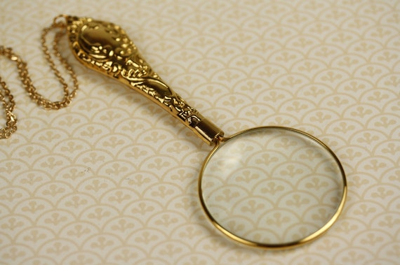 Large Gold Magnifying Glass Necklace Ornate Magnifier Handle