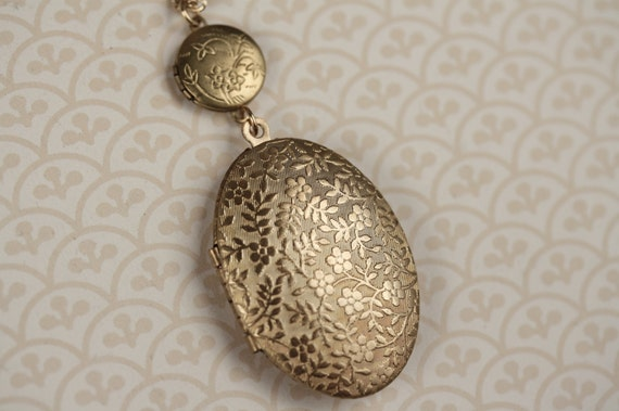 Vines and Floral Double Locket Necklace, Two Pendants, Multiple Lockets, Double Necklace, Oval Locket, Round Floral Locket