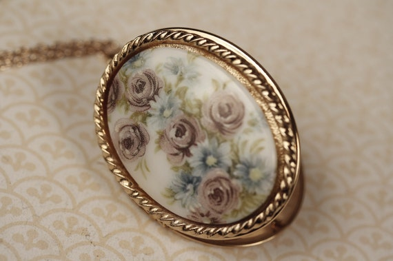 Floral Locket Necklace with Large Colorful Cabochon, Porcelain or Ceramic, Vintage, Purple, Green and Blue Flowers