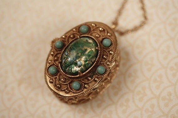 Unique Turquoise Blue and Gold Locket Necklace with Raised Ornate, Vintage Fashion Pendant, Large Metal Case, Long Perfume Compartment