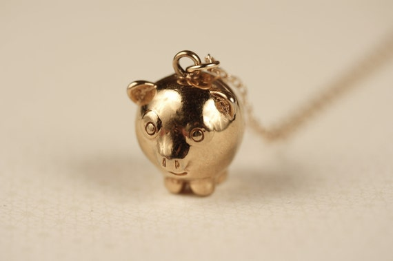 Vintage Puffy Pig Necklace, Gold Plated Pendant, 3d Charm, Small Hog Jewelry, Shiny Metal, Pork Piggy Jewellery