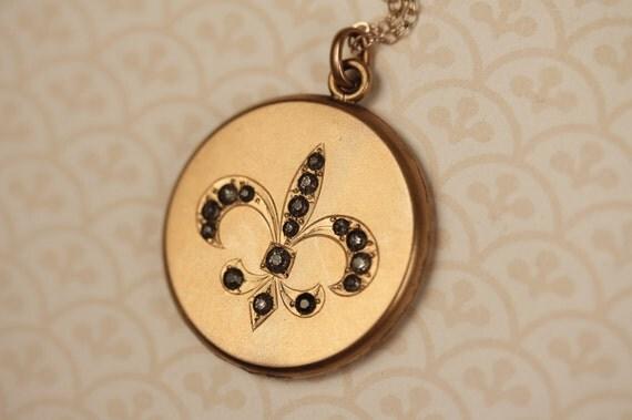 SALE - Long Antique Fleur De Lis Locket Necklace, Vintage French Pendant, Paste Stones, Clear Faux Diamonds, Gold Filled Jewelry, Victorian