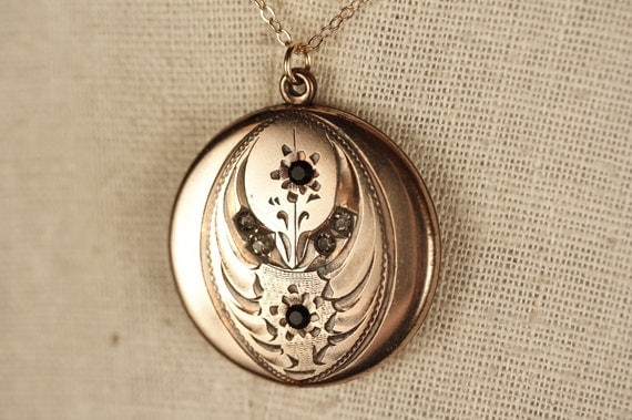 Black and White Antique Locket Necklace with Gold Filled Flora, Paste Stones Pendant, Vintage, Rare, Leaves and Flowers, 14kt Chain