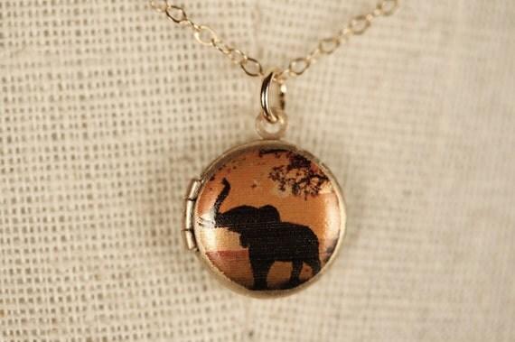 Small Elephant Locket Necklace, African Sunset Safari Pendant, Animal Image Jewelry, 14kt Gold Filled Chain, Miniature Black, Orange Charm