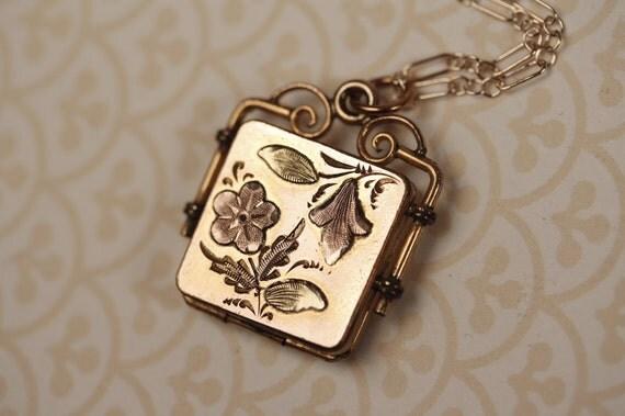 Antique Victorian Rose Gold Filled Locket Necklace, Engraved L, J or I Pendant, Square, 14kt Gold Filled Chain