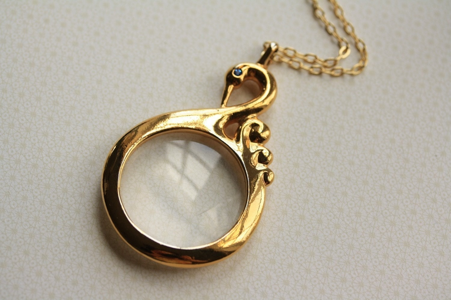vintage swan necklace bird magnifying glass pendant