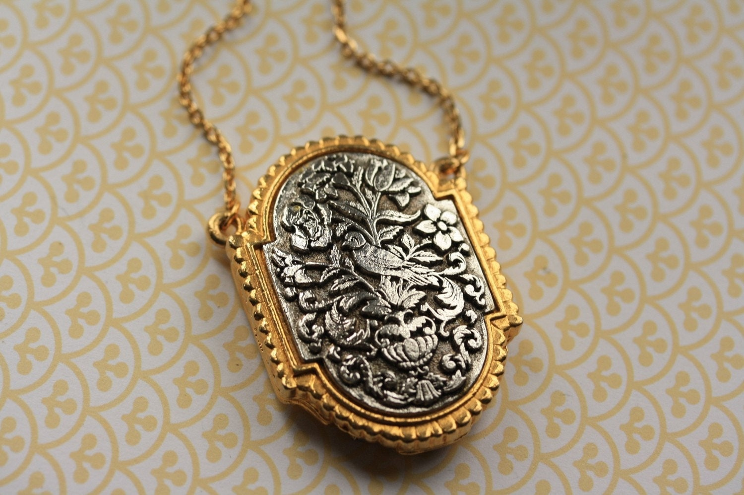 Statement necklace locket with vintage silver and by freshyfig