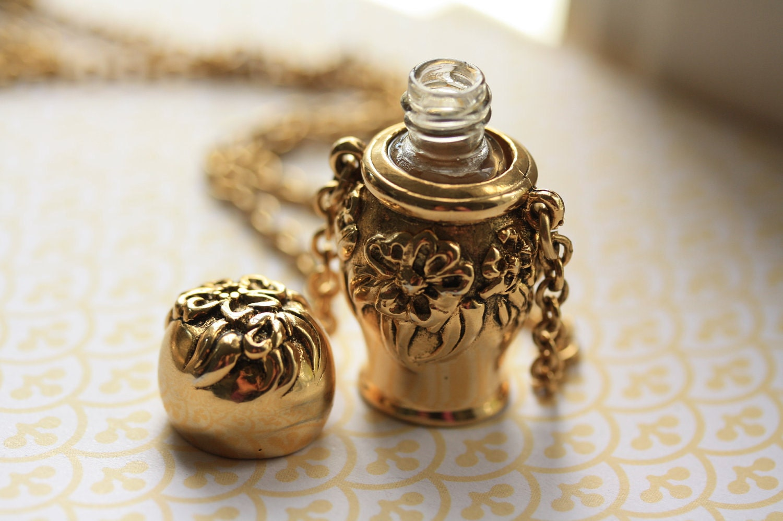 Gold Floral Perfume Bottle Necklace Long Gold Pendant