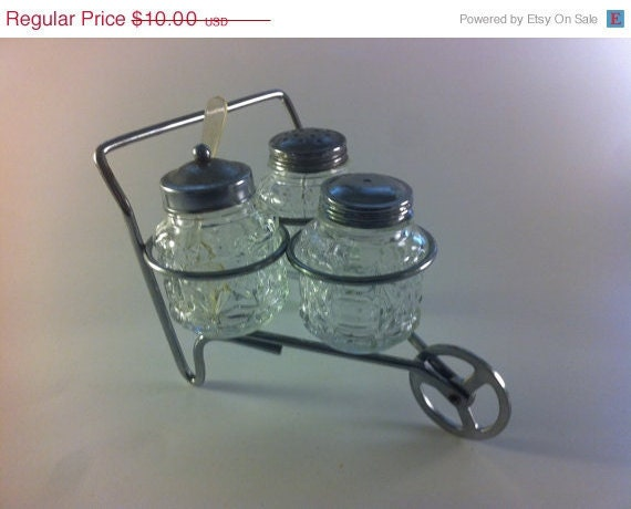 ON SALE Vintage Salt Pepper Shakers and Sugar Set in Wheelbarrow