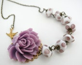 SALE Xtra 30% Off Lavender  Asymmetrical Rose Necklace with Vintage Lampwork Glass Beads