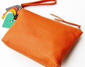 Everyday Clutch or Cosmetic Case, or What You Will in Orange. UNIQUE.