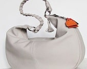 The New FARRAGO Huge Hip Hobo Bag in Light Pale Grey. UNIQUE