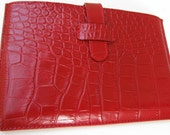 The best Personalized Xmas Gift: Simple Kindle Case or Sleeve in Red, Croco Print Leather. Leather Lining. FREE Monogramming. Unique