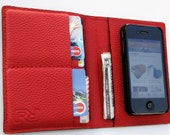 The World In Your Pocket 3. Personalized iPhone 4 Case, Passport Case, Card Holder & Wallet in Red n Charcoal Italian Calfskin.UNIQUE