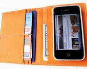 The World In Your Pocket 3. Personalized iPhone Case, Passport Case, Card Holder & Wallet in Dark Hermes-Orange Calfskin. UNIQUE