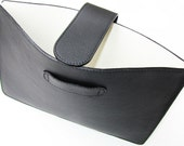 """Black & White. Personalized MacBook Air 13"""" Case /Sleeve in I. Class, Lightly Print, Black Calfskin. White Leather Lining"""