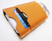 The World In Your Pocket 2. Personalized iPhone 4 Case, Card Holder & Wallet in Light Hermes-Orange Italian Calfskin