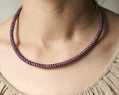 fiber necklace red blue navy Hand wrapped necklace Etno fiber jewelry African style necklace