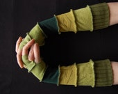 Arm Warmers Gloves Mittens Fingerless Made from Recycled Clothing Shades of Green Olive Winter Fashion Upcycled Clothing