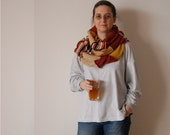 Extra Long Scarf Patchwork Scarf Upcycled Sweater Brick Mustard Beige Upcycled Clothing Eco Friendly Funky Style Winter Fashion
